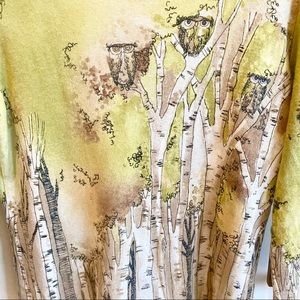 Chico's Owls in Birch Trees 3/4 Sleeve Top EUC